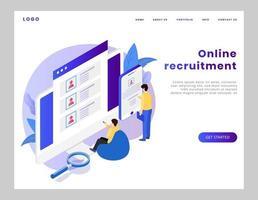 página de destino de recrutamento online isométrico