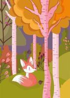 Olá pôster da temporada de outono com raposa fofa vetor