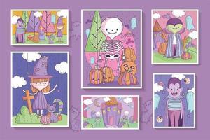 conjunto de pôster fofo de halloween vetor