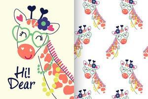 mão desenhada girafa fofa com conjunto de padrões