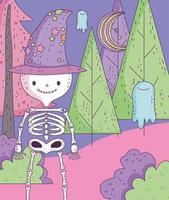 pôster fofo de halloween com esqueleto vetor