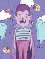 pôster fofo de halloween com vampiro vetor