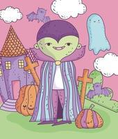 pôster fofo de halloween com personagem vampiro vetor