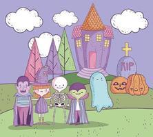 pôster fofo de halloween com pequenos personagens vetor