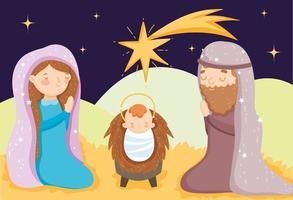 cartaz de feliz natal e presépio com a família sagrada