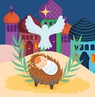 cartaz de feliz natal e presépio com o bebê Jesus no berço e a pomba vetor