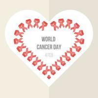banner do dia mundial do câncer com formato de coração de fita