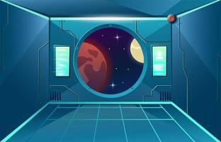 vigia no corredor na nave espacial. lua e planeta de Marte no visor. quarto interior futurista. fundo para jogos e aplicativos móveis. fundo de desenho vetorial vetor