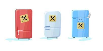 geladeira quebrada com água fluindo. freezer parou de funcionar. um pouco de fumaça internamente. frigorífico. placa de sinalização com ícones de manutenção. precisa em serviço para consertar. ilustração vetorial em desenho animado vetor