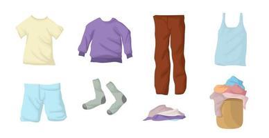 conjunto de roupa suja. coleção de roupas. meias, linho, camiseta, moletom, jaqueta, shorts, jeans em uma cesta de vime. vetor