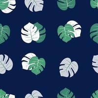 padrão de folha de palmeira com fundo azul escuro vetor