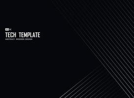 faixa de tecnologia de linha branca abstrata em modelo de design de fundo preto. ilustração vetorial vetor
