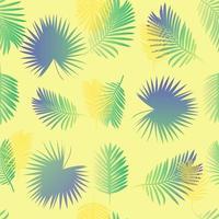 padrão de folha de palmeira colorida com fundo amarelo vetor