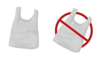 conjunto de saco plástico. pare de usar embalagem descartável de polietileno. vetor