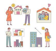 pessoas que compram e fazem imóveis. as pessoas estão analisando para construir uma casa, sonhando com a felicidade, pensando na estrutura de um apartamento e comparando-a. vetor