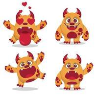 coleção de conjunto de expressões de mascote de monstro fofo vetor