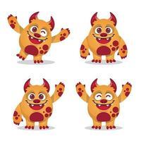 coleção de conjunto de expressão de mascote de monstro vetor
