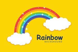 modelo de fundo de arco-íris com nuvens vetor