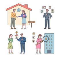 coleção de personagens imobiliários. as pessoas procuram um contrato de casa, uma apresentação de uma propriedade, uma explicação e uma lupa. vetor