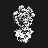 mão desenhada vetor de dia de tolos de abril. crânio palhaço jack in the box design