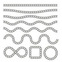 balançando cordas náuticas pretas vetor