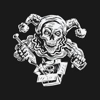 dia da Mentira. crânio segurando fundo de ilustração vetorial de injeção e veneno vetor