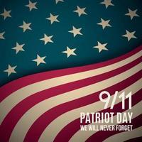 9 11, plano de fundo do dia patriota. banner retro do dia do patriota dos EUA. vetor