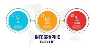 modelo de elemento de infográfico de negócios, modelo de processo de etapa vetor