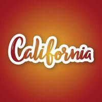 Califórnia - mão desenhada letras frase. adesivo com letras em estilo de corte de papel. vetor