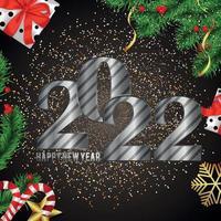 cartão comemorativo de feliz ano novo 2022 com glitter vetor