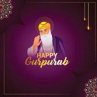 feliz gurpurab design de cartão de férias vetor