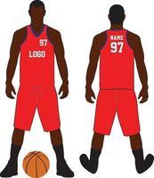 conjunto uniforme de design de camiseta de basquete vetor