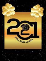 feliz ano novo 2021 relógio e balões vetor