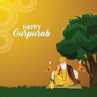 fundo guru nanak jayanti feliz vetor