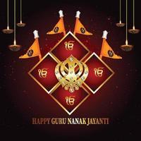 banner ou cabeçalho de guru nanak jayanti feliz vetor