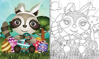 livro de colorir para crianças com o tema Páscoa com um guaxinim fofo usando orelhas de coelho vetor