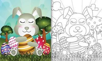 livro de colorir para crianças com tema feliz páscoa com ilustração de personagens vetor