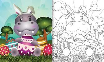 livro de colorir para crianças com o tema Páscoa com um hipopótamo fofo usando orelhas de coelho vetor