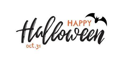 inscrição manuscrita feliz dia das bruxas. vetor saudação banner para a celebração do halloween.