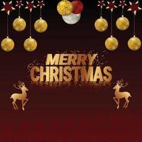 design de cartão de Natal com letras douradas e renas vetor