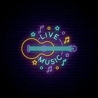 sinal de música ao vivo de néon. indicador luminoso com guitarra e inscrição de música ao vivo. vetor