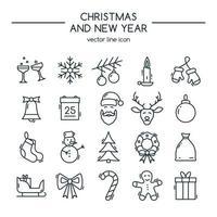 feliz Natal e Feliz Ano Novo. conjunto de ícones de linha.