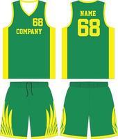 camisa de basquete e shorts na frente e nas costas vetor