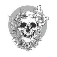 esboço de linha do crânio com vetor flower.premium