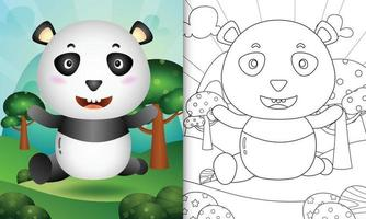 livro de colorir para crianças com uma ilustração do personagem fofo urso panda vetor