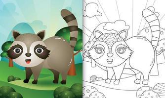 livro de colorir para crianças com uma ilustração do personagem bonito vetor