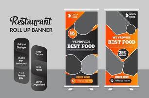 negócio de restaurante roll up banner template design set vetor