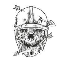 crânio de viking perfurado com seta. vetor premium