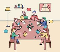 leitura reunião de discussão. as pessoas estão sentadas ao redor de uma mesa e discutindo. vetor
