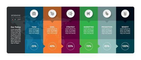 analise e planeje um relatório de negócios ou trabalho por meio de um formato de porcentagem com um retângulo. vetor